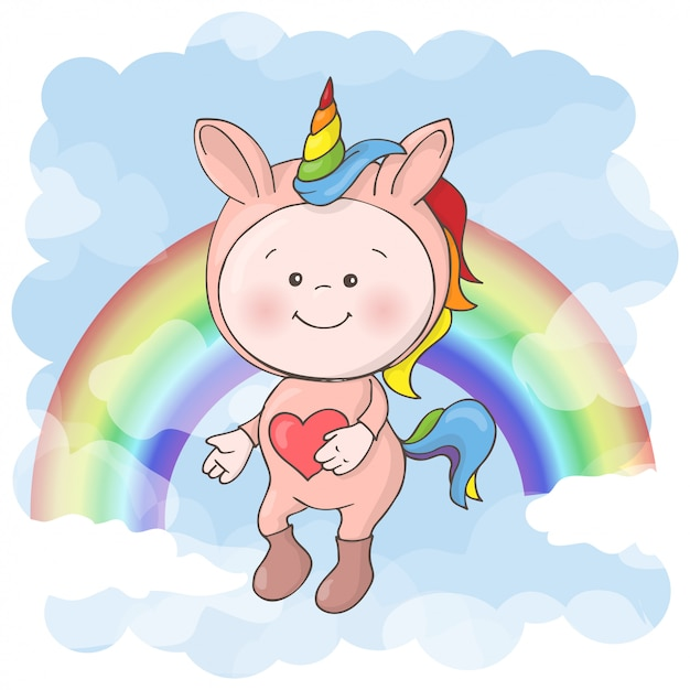 Ilustração do bebê bonito em um traje do unicórnio. estilo dos desenhos animados. Vetor Premium