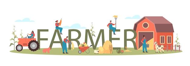Ilustração do cabeçalho tipográfico do fazendeiro Vetor Premium