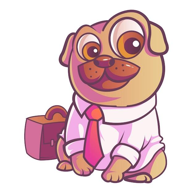 Ilustração do cão do pug. Vetor Premium