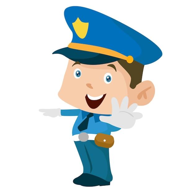 Ilustracao Do Carater Do Trabalhador De Desenhos Animados De Seguranca Da Policia Vetor Premium
