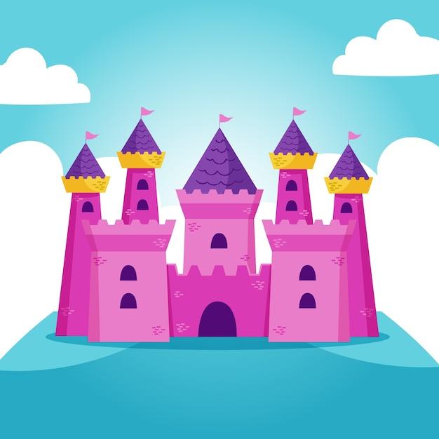 Ilustração do castelo de conto de fadas com bandeiras Vetor grátis