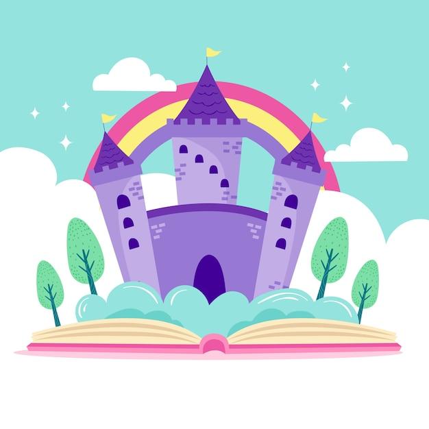 Ilustração do castelo de conto de fadas no livro Vetor grátis