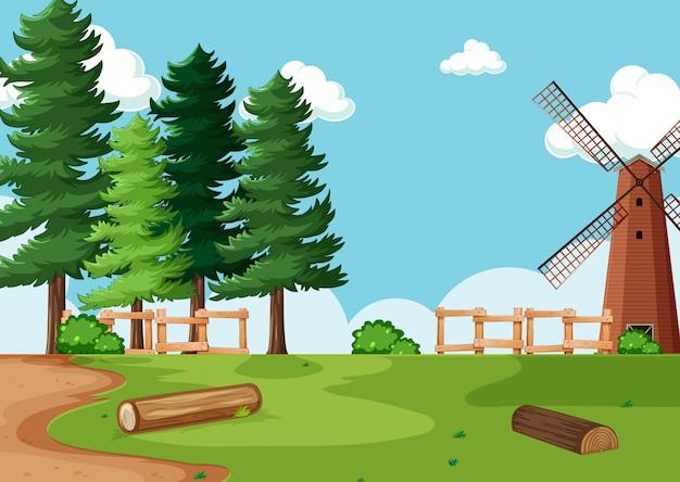Ilustração do cenário da fazenda natural Vetor Premium