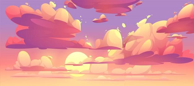 Ilustração do céu do sol com nuvens Vetor grátis