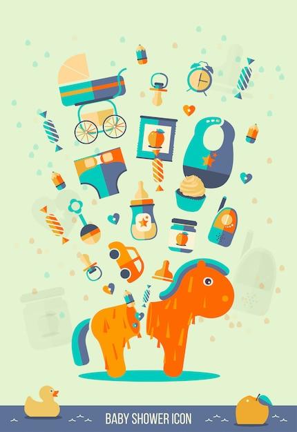 Ilustração do chuveiro de bebê Vetor Premium