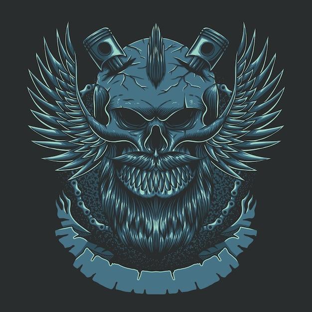 Ilustração do clube de motocicletas da asa do crânio Vetor Premium