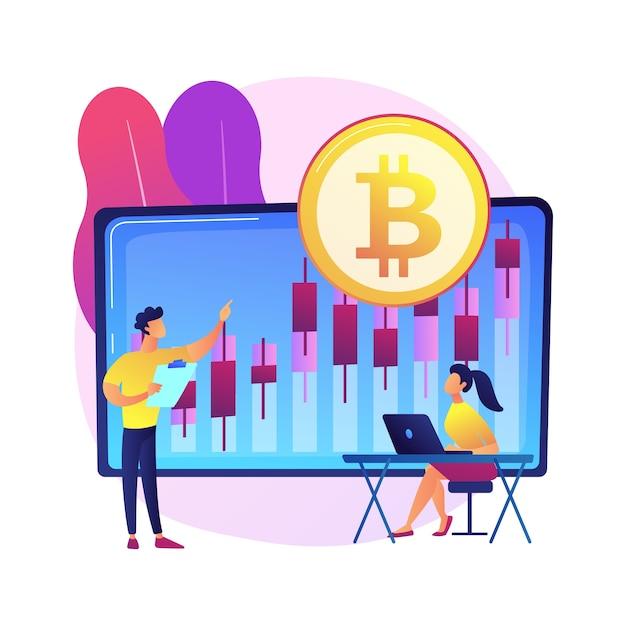 Ilustração do conceito abstrato da mesa de negociação de criptomoeda. plataforma de futuros de bitcoin, serviço de troca de criptografia, negócios de tecnologia financeira, roteamento de pedido inteligente. Vetor grátis