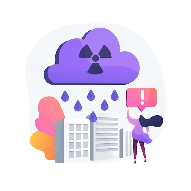Ilustração do conceito abstrato de chuva ácida. componente de precipitação ácida, problema de acidificação da água, medição do ph da água da chuva, efeito prejudicial, chuva tóxica, atmosfera Vetor grátis