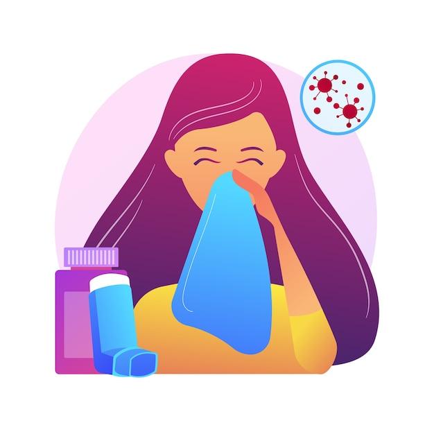 Ilustração do conceito abstrato de doenças alérgicas. alergia atópica, reação grave, terapia com anti-histamínicos, tratamento de doenças alérgicas, erupção cutânea, metáfora abstrata da clínica dermatológica. Vetor grátis