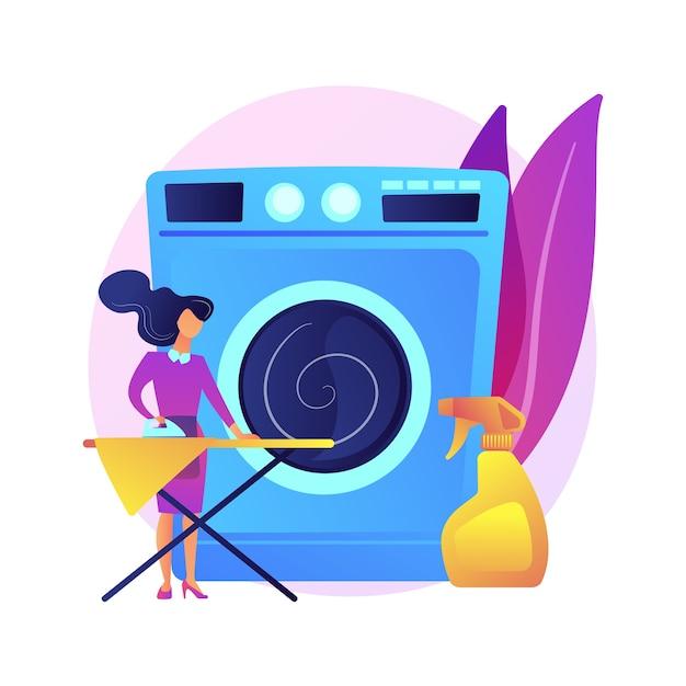 Ilustração do conceito abstrato de lavanderia e tinturaria. indústria de lavanderia, serviços de limpeza e restauração, serviço de coleta e entrega, pequeno nicho de negócios Vetor grátis