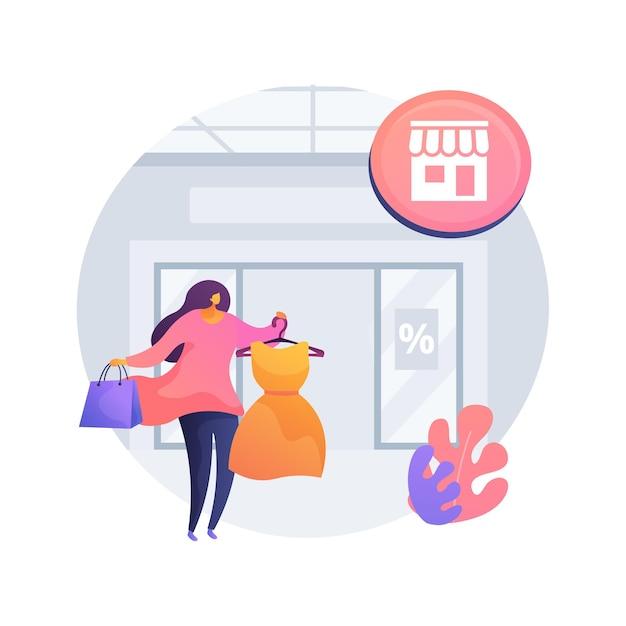 Ilustração do conceito abstrato de loja âncora. grande loja de varejo, grande loja de departamentos, marketing de shopping center, mercadorias, atrair clientes para o centro, grande varejista Vetor grátis