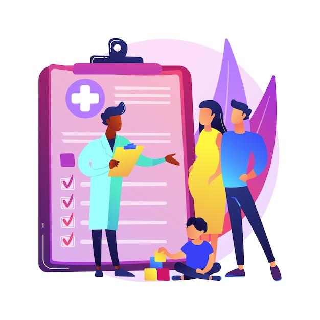 Ilustração do conceito abstrato de médico de família. visite seu médico, clínica médica de família, provedor de cuidados de saúde primários, clínico geral, serviço médico, metáfora abstrata de seguro. Vetor grátis