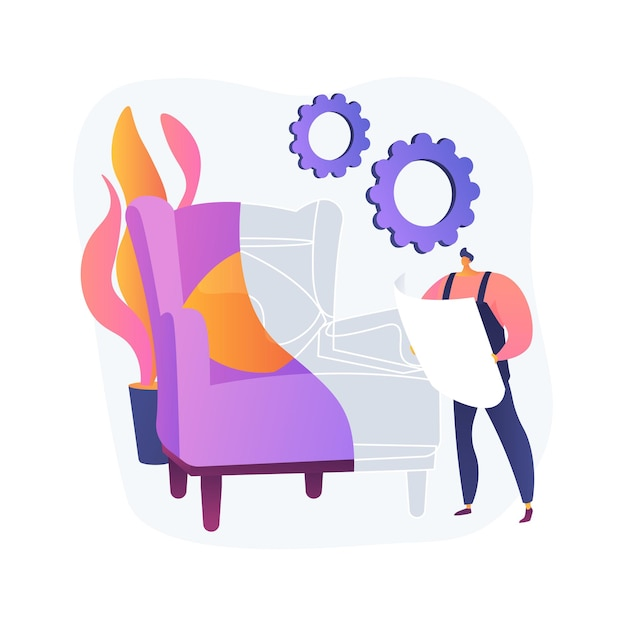 Ilustração do conceito abstrato de móveis personalizados. móveis sob medida, compras online de produtos feitos à mão, manufatura artesanal, marcenaria personalizada, croqui de clientes Vetor grátis