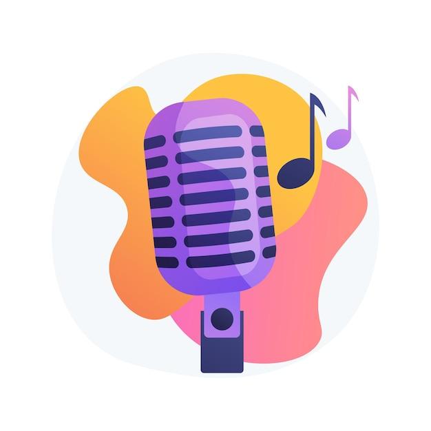 Ilustração do conceito abstrato de música popular. turnê de cantores populares, indústria da música pop, artista das paradas de sucesso, serviço de produção de banda musical, estúdio de gravação, livro para evento Vetor grátis