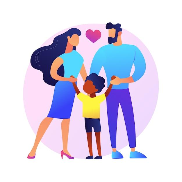 Ilustração do conceito abstrato de pais adotivos cuidadosos. tutela, pai em adoção, família inter-racial feliz, se divertindo, juntos em casa, casal sem filhos Vetor grátis