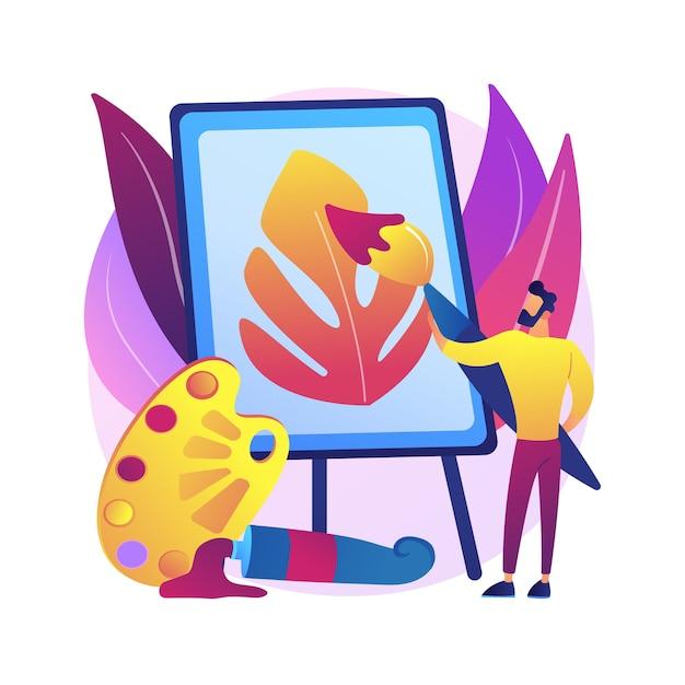 Ilustração do conceito abstrato de pintura. curso caseiro de pintor amador, aprenda a desenhar, aumente sua criatividade, exercícios de terapia de arte, aula de desenho online para crianças. Vetor grátis