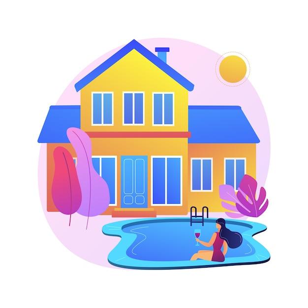 Ilustração do conceito abstrato de residência privada. residência unifamiliar, moradia de entidade privada, tipo de moradia, terreno envolvente, mercado imobiliário. Vetor grátis