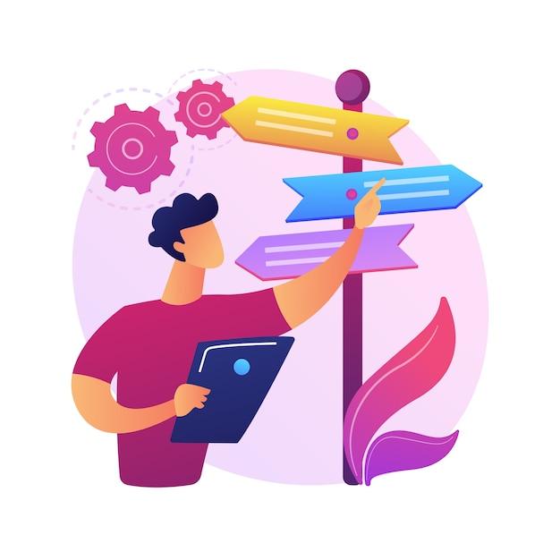 Ilustração do conceito abstrato de tomada de decisão. habilidade de resolução de problemas, liderança, estrutura de tomada de decisão, análise de árvore, abordagem racional, gestão de negócios Vetor grátis