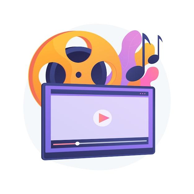 Ilustração do conceito abstrato de vídeo musical. videoclipe oficial, estreia na internet e na tv, produção de videoclipe, diretor profissional, equipe de filmagem, promoção de músico Vetor grátis