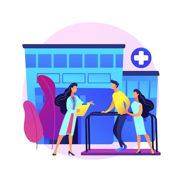 Ilustração do conceito abstrato do hospital de reabilitação. hospital de reabilitação, centro de reabilitação, estabilização de condições médicas, cuidados de saúde mental, centro médico. Vetor grátis