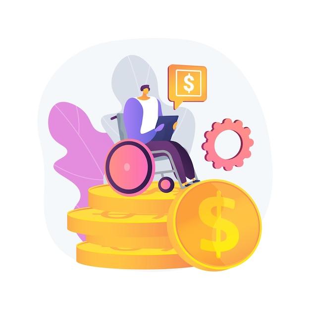 Ilustração do conceito abstrato do subsídio de cuidados. contribuição para pensão, idoso com deficiência, assistência regular, idosa com andador, cadeira de rodas, enfermeira domiciliar, seguro saúde Vetor grátis