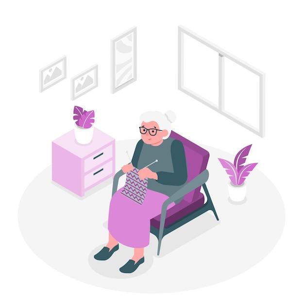 Ilustração do conceito da avó Vetor grátis