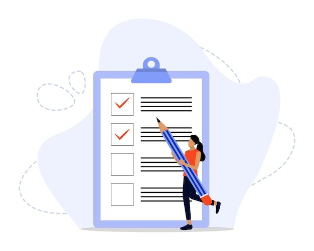 Ilustração do conceito da lista de verificação Vetor Premium