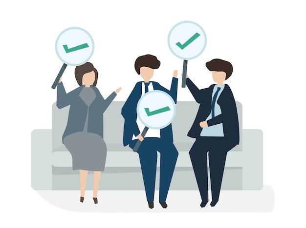 Ilustração do conceito de acordo de negócio de avatar de pessoas Vetor grátis