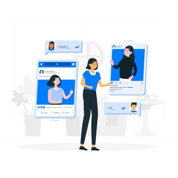 Ilustração do conceito de amigos online Vetor grátis