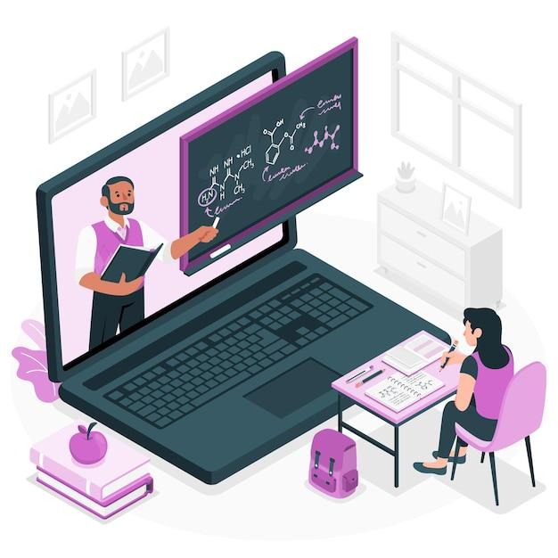 Ilustração do conceito de aprendizagem online Vetor grátis