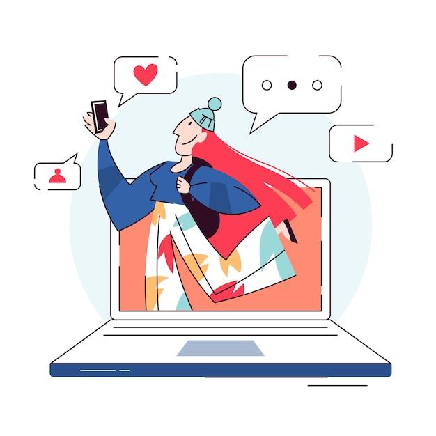 Ilustração do conceito de blogger. compartilhe conteúdo na internet Vetor Premium