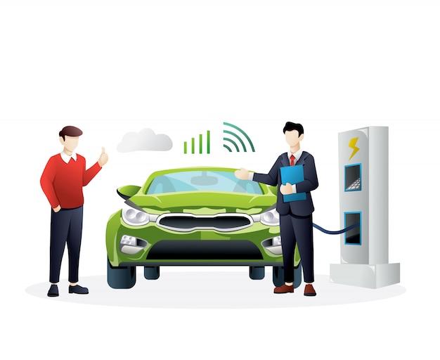 Ilustração do conceito de carro inteligente Vetor Premium