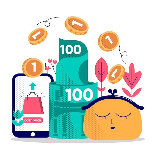 Ilustração do conceito de cashback com moedas Vetor grátis