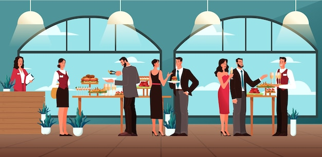 Ilustração do conceito de catering. ideia de serviço de alimentação no hotel. evento em restaurante, banquete ou festa. banner da web do serviço de catering. ilustração Vetor Premium
