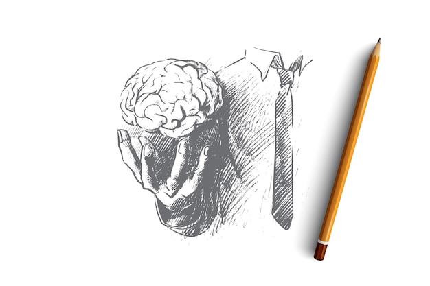 Ilustração do conceito de cérebro Vetor Premium