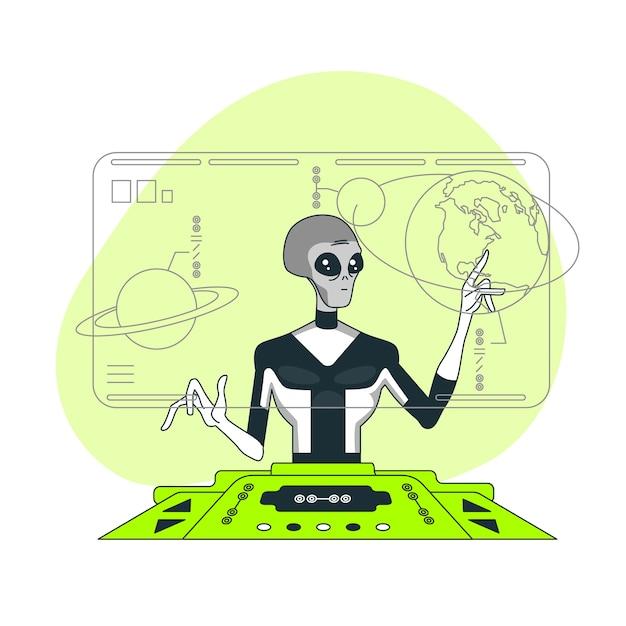 Ilustração do conceito de ciência alienígena Vetor grátis