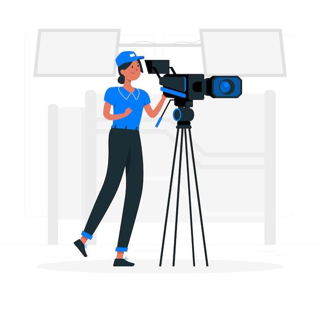 Ilustração do conceito de cinegrafista Vetor grátis