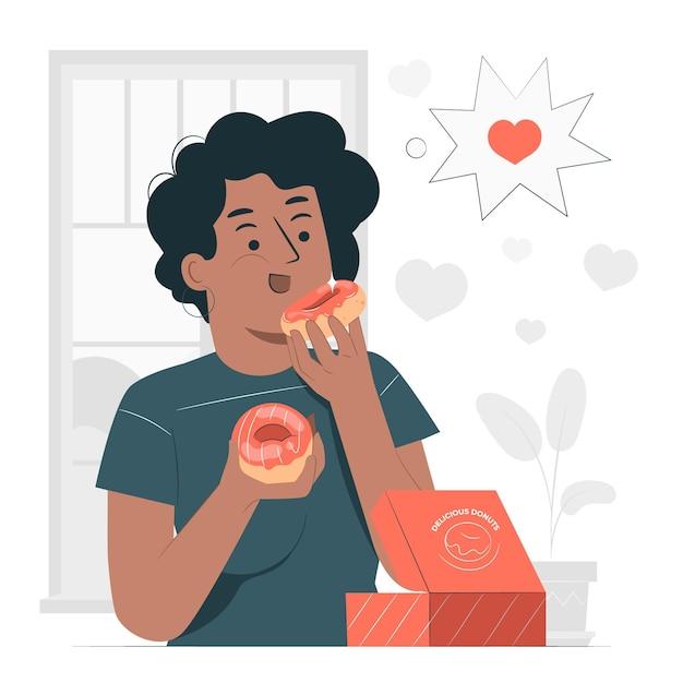 Ilustração do conceito de comer donuts Vetor grátis