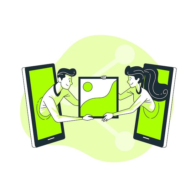 Ilustração do conceito de compartilhamento de fotos Vetor grátis
