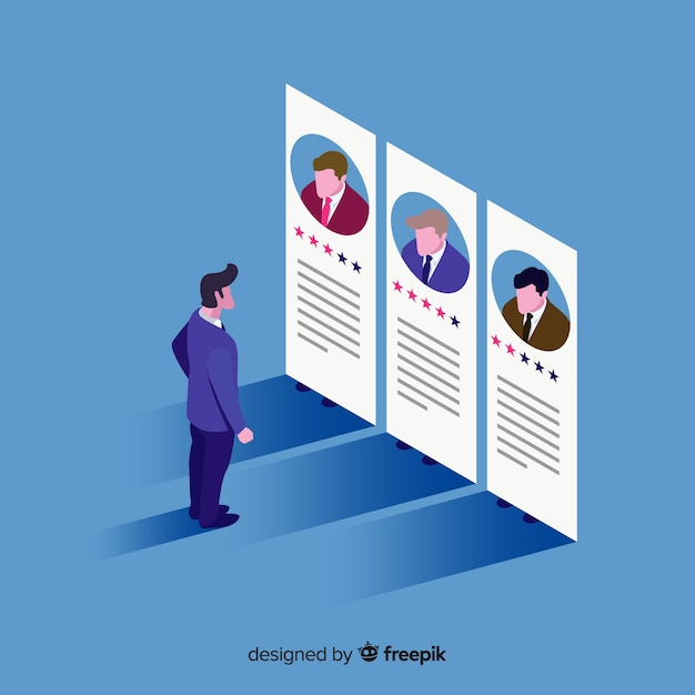 Ilustração do conceito de contratação isométrica Vetor grátis