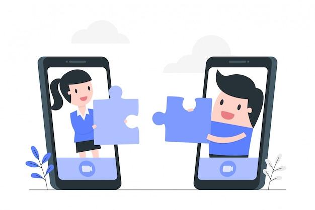 Ilustração do conceito de cooperação e trabalho em equipe on-line. Vetor Premium