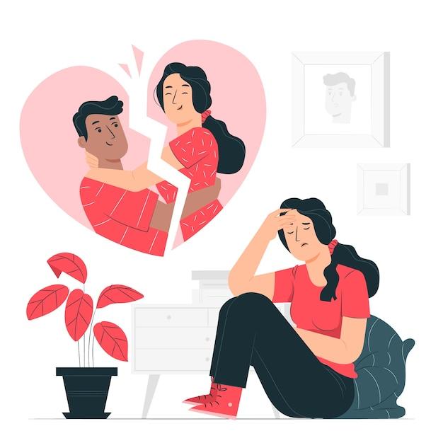 Ilustração do conceito de coração partido Vetor grátis