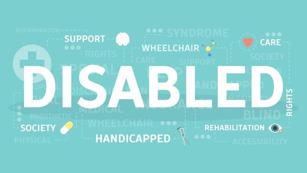 Ilustração do conceito de deficiente. ideia de sociedade e saúde. Vetor Premium