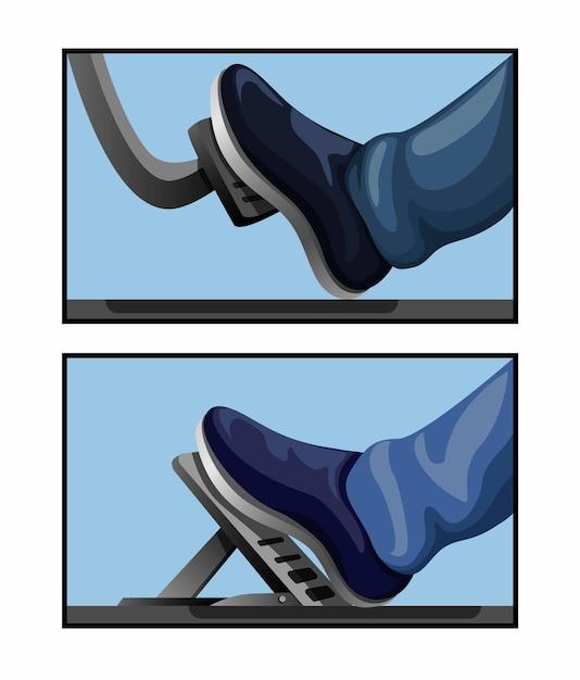 Ilustração do conceito de elemento mecânico automotivo símbolo de comparação de modelo de carro a pedal de gás Vetor Premium