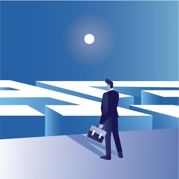 Ilustração do conceito de empresário confundir para conseguir uma saída no labirinto da frente segurando uma mala Vetor Premium