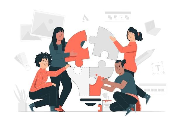 Ilustração do conceito de equipe criativa Vetor grátis