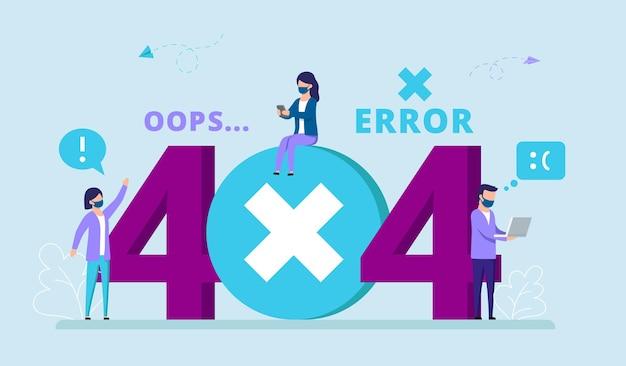 Ilustração do conceito de erro 404 com personagens masculinos e femininos. grupo de pessoas em máscaras interagindo com o grande sinal. Vetor Premium