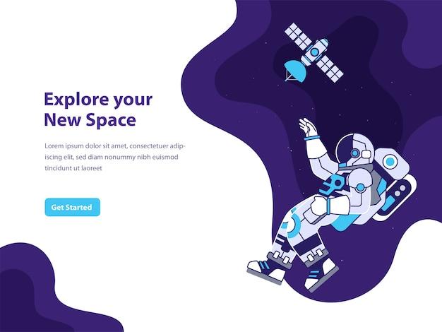 Ilustração do conceito de espaço e astronauta para página de destino Vetor Premium