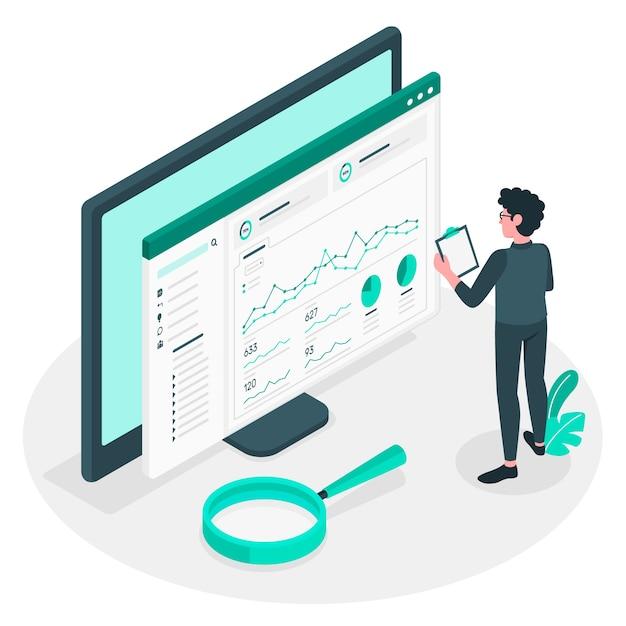 Ilustração do conceito de estatísticas do site Vetor grátis