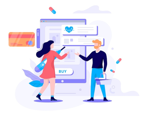 Ilustração do conceito de farmácia online. o cliente encomenda e compra medicamentos e drogas online. site do e-commerse. Vetor Premium